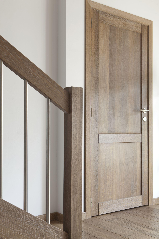 Medinės ąžuolinės durys: modelis D2F ir D1S, spalva Pilka 3417.