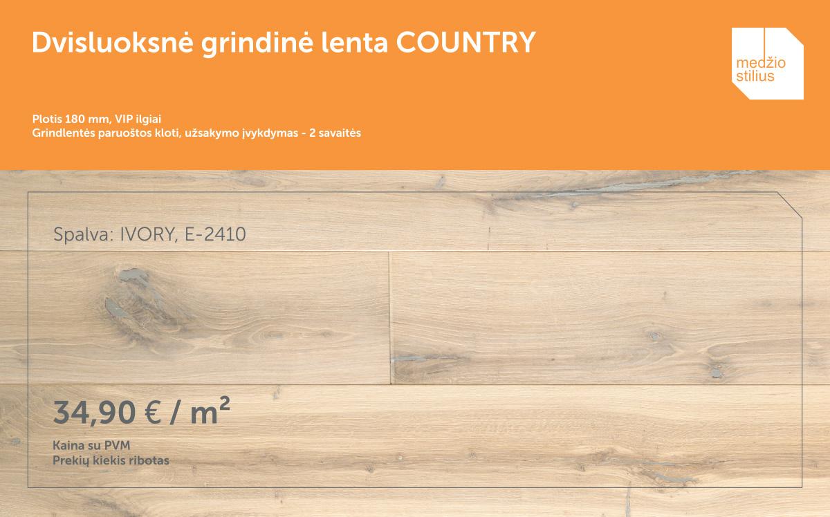 medines grindys akcija COUNTRY 180mm E-2410 Ivory Medziostilius