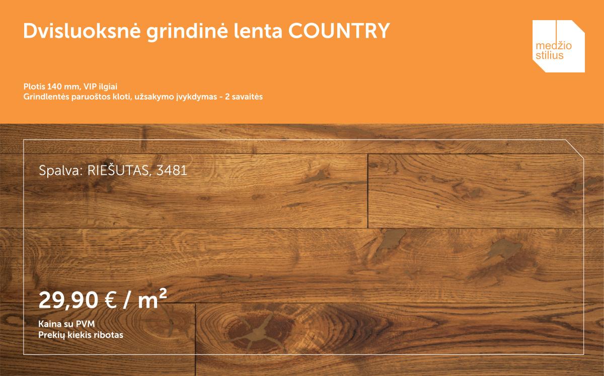 medines grindys akcija COUNTRY140mm 3481 Riesutas Medziostilius