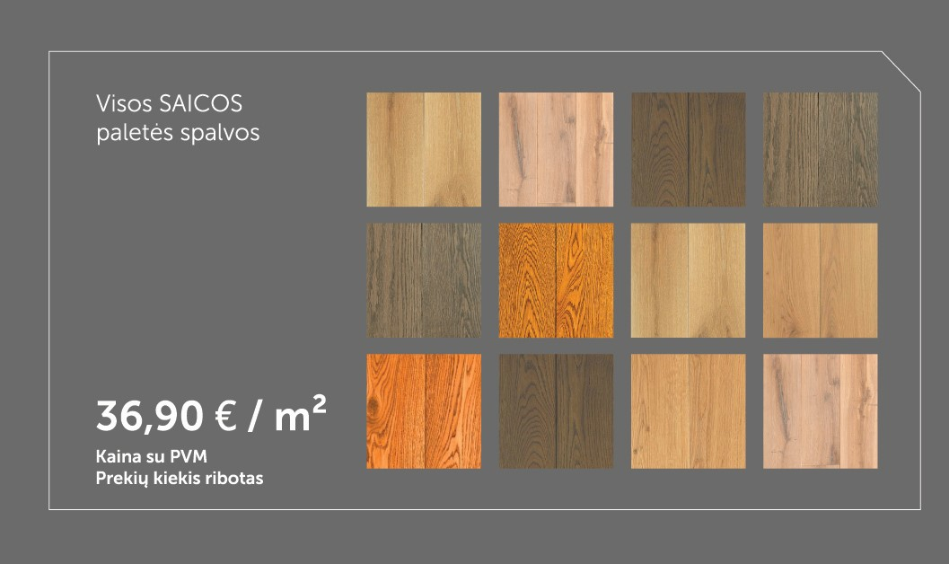 medines grindys Rustikas 180 visos SAICOS spalvos Medzio stilius m