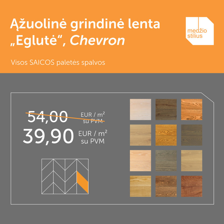 medines grindys chevron Eglute 45 Medzio stilius