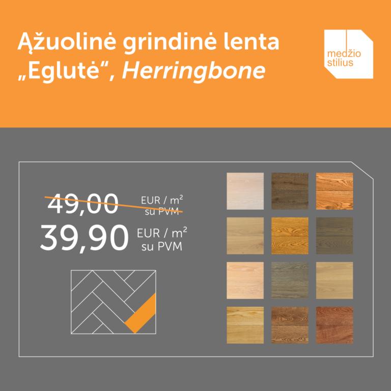 medines grindys Eglute 90 Herringbone Medzio stilius FB